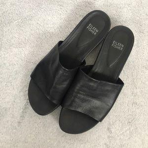 Eileen Fisher black leather platform sandal slide